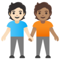 People Holding Hands: Light Skin Tone, Medium Skin Tone on Google Android 11.0 December 2020 Feature Drop