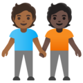 People Holding Hands: Medium-Dark Skin Tone, Dark Skin Tone on Google Android 11.0 December 2020 Feature Drop