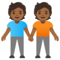 People Holding Hands: Medium-Dark Skin Tone on Google Android 11.0 December 2020 Feature Drop