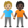 People Holding Hands: Medium-Light Skin Tone, Dark Skin Tone on Google Android 11.0 December 2020 Feature Drop