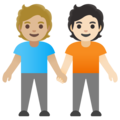 People Holding Hands: Medium-Light Skin Tone, Light Skin Tone on Google Android 11.0 December 2020 Feature Drop