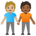 People Holding Hands: Medium-Light Skin Tone, Medium-Dark Skin Tone on Google Android 11.0 December 2020 Feature Drop