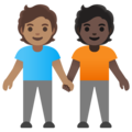 People Holding Hands: Medium Skin Tone, Dark Skin Tone on Google Android 11.0 December 2020 Feature Drop