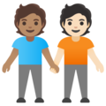 People Holding Hands: Medium Skin Tone, Light Skin Tone on Google Android 11.0 December 2020 Feature Drop