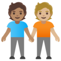 People Holding Hands: Medium Skin Tone, Medium-Light Skin Tone on Google Android 11.0 December 2020 Feature Drop