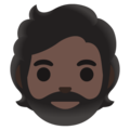 Person: Dark Skin Tone, Beard on Google Android 11.0 December 2020 Feature Drop