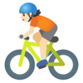 Person Biking: Light Skin Tone on Google Android 11.0 December 2020 Feature Drop