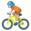 Person Biking: Medium-Light Skin Tone on Google Android 11.0 December 2020 Feature Drop