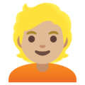Person: Medium-Light Skin Tone, Blond Hair on Google Android 11.0 December 2020 Feature Drop