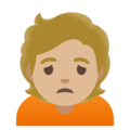 Person Frowning: Medium-Light Skin Tone on Google Android 11.0 December 2020 Feature Drop