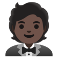 Person in Tuxedo: Dark Skin Tone on Google Android 11.0 December 2020 Feature Drop
