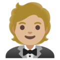 Person in Tuxedo: Medium-Light Skin Tone on Google Android 11.0 December 2020 Feature Drop