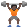 Person Lifting Weights: Dark Skin Tone on Google Android 11.0 December 2020 Feature Drop