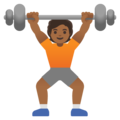 Person Lifting Weights: Medium-Dark Skin Tone on Google Android 11.0 December 2020 Feature Drop