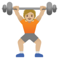 Person Lifting Weights: Medium-Light Skin Tone on Google Android 11.0 December 2020 Feature Drop