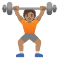 Person Lifting Weights: Medium Skin Tone on Google Android 11.0 December 2020 Feature Drop