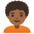 Person: Medium-Dark Skin Tone, Curly Hair on Google Android 11.0 December 2020 Feature Drop