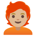 Person: Medium-Light Skin Tone, Red Hair on Google Android 11.0 December 2020 Feature Drop