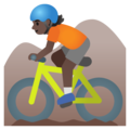 Person Mountain Biking: Dark Skin Tone on Google Android 11.0 December 2020 Feature Drop