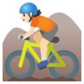 Person Mountain Biking: Light Skin Tone on Google Android 11.0 December 2020 Feature Drop