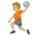 Person Playing Handball: Medium-Light Skin Tone on Google Android 11.0 December 2020 Feature Drop