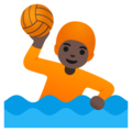 Person Playing Water Polo: Dark Skin Tone on Google Android 11.0 December 2020 Feature Drop