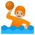 Person Playing Water Polo: Medium-Light Skin Tone on Google Android 11.0 December 2020 Feature Drop