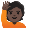 Person Raising Hand: Dark Skin Tone on Google Android 11.0 December 2020 Feature Drop