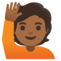 Person Raising Hand: Medium-Dark Skin Tone on Google Android 11.0 December 2020 Feature Drop