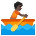 Person Rowing Boat: Dark Skin Tone on Google Android 11.0 December 2020 Feature Drop