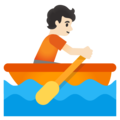 Person Rowing Boat: Light Skin Tone on Google Android 11.0 December 2020 Feature Drop