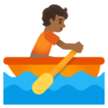 Person Rowing Boat: Medium-Dark Skin Tone on Google Android 11.0 December 2020 Feature Drop