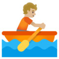 Person Rowing Boat: Medium-Light Skin Tone on Google Android 11.0 December 2020 Feature Drop