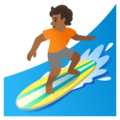 Person Surfing: Medium-Dark Skin Tone on Google Android 11.0 December 2020 Feature Drop