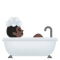 Person Taking Bath: Dark Skin Tone on Google Android 11.0 December 2020 Feature Drop