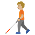 Person with White Cane: Medium-Light Skin Tone on Google Android 11.0 December 2020 Feature Drop