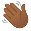 Waving Hand: Medium-Dark Skin Tone on Google Android 11.0 December 2020 Feature Drop