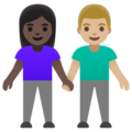Woman and Man Holding Hands: Dark Skin Tone, Medium-Light Skin Tone on Google Android 11.0 December 2020 Feature Drop