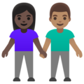 Woman and Man Holding Hands: Dark Skin Tone, Medium Skin Tone on Google Android 11.0 December 2020 Feature Drop