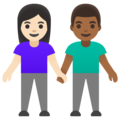 Woman and Man Holding Hands: Light Skin Tone, Medium-Dark Skin Tone on Google Android 11.0 December 2020 Feature Drop
