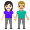 Woman and Man Holding Hands: Light Skin Tone, Medium-Light Skin Tone on Google Android 11.0 December 2020 Feature Drop