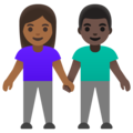Woman and Man Holding Hands: Medium-Dark Skin Tone, Dark Skin Tone on Google Android 11.0 December 2020 Feature Drop
