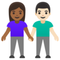 Woman and Man Holding Hands: Medium-Dark Skin Tone, Light Skin Tone on Google Android 11.0 December 2020 Feature Drop