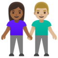 Woman and Man Holding Hands: Medium-Dark Skin Tone, Medium-Light Skin Tone on Google Android 11.0 December 2020 Feature Drop