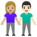 Woman and Man Holding Hands: Medium-Light Skin Tone, Light Skin Tone on Google Android 11.0 December 2020 Feature Drop