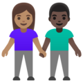 Woman and Man Holding Hands: Medium Skin Tone, Dark Skin Tone on Google Android 11.0 December 2020 Feature Drop