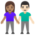 Woman and Man Holding Hands: Medium Skin Tone, Light Skin Tone on Google Android 11.0 December 2020 Feature Drop