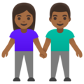 Woman and Man Holding Hands: Medium-Dark Skin Tone on Google Android 11.0 December 2020 Feature Drop