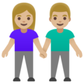 Woman and Man Holding Hands: Medium-Light Skin Tone on Google Android 11.0 December 2020 Feature Drop