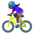Woman Biking: Dark Skin Tone on Google Android 11.0 December 2020 Feature Drop